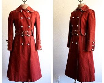Vintage 1970s  Burgundy Aquascutum Military Inspired  Trench Coat