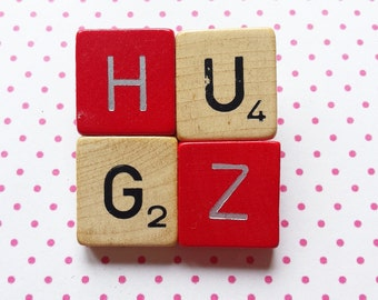 Scrabble brooch HUGZ red and wood fun gift original jewellery - free shipping