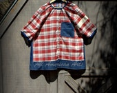RESERVED FOR SHEILA ****Upcycled, refashioned, repurposed, man's shirt, ladies tunic, red plaid, size 3XL/4XL