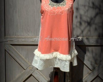 Upcycled, Refashioned, Eco-Friendly, Boho, Ladies Swing Top, Tunic, Size XL, Anthropology Inspired