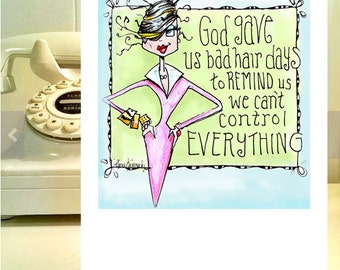 Funny birthday card and good hair day, Funny woman birthday card, good hair day card, birthday card friend, card for her, fashionista card