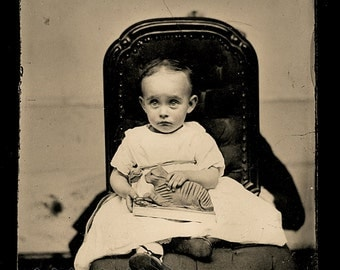 Wonderful Tintype Nervous Little Girl Holding Pull TOY Cat with Hidden Mother