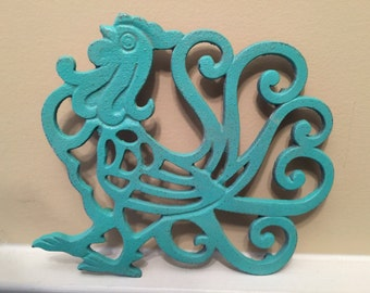 Rooster Trivet/ Cast Iron Rooster Trivet/ Distressed Trivet/ Shabby Chic Decor/ Kitchen Decor/ Home and Garden Decor