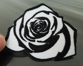 Iron on Patch - Rose Patch Black and White Rose Flower Patch Flowers Patch Iron on Patches or Sewing on Patch Embellishment