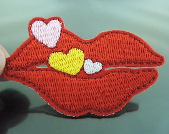 Iron On Patch - Red Lip Mouth with Little Heart Patches Sexy Love Lip patch Red Lip Applique embroidered patch Sew On Patch