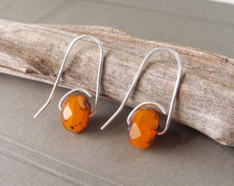 Faceted Orange Czech Glass Earrings, Turquoise and Brown Accents, Dangle Earrings, Ready to Ship
