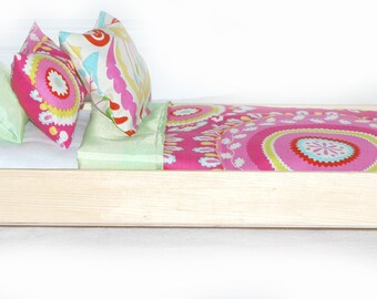 Single Doll Bed - Kumani Garden American Made Girl Doll Bed - Fits AG Doll and 18 inch dolls Bitty Baby Doll Bed 18' Doll Furniture