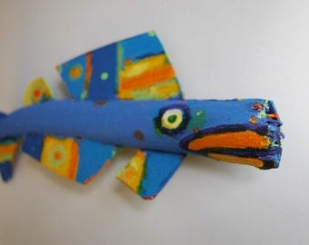 Painted wood Fish Art Hot Lips Whimsical FISHeFISH is ready to hang in any room to add Colorful Fun with unusual creativity