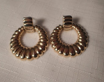 GOLD DOORKNOCKER EARRINGS / Pierced / Hoops / Embossed / Couture / Statement / Designer-Inspired / Trendy / Hip / Retro / Chic / Accessories