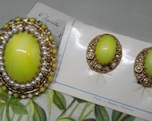 West Germany Lemon Yellow Cabochon & Gold Filigree Brooch and Earrings Set