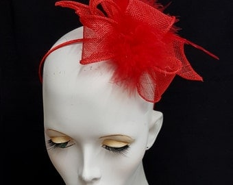 Scarlet red sinamay and feather fascinator headband fixing ideal wedding or races