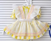 Vintage 60's 70s Toddler Girls Dress/Pinafore Style/Yellow White/Ric Rac Trim & Roses/Jill Lynn T3/Costume Pageant Child Kids Gift Easter