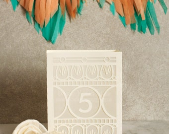 Oma Papel Picado Wedding Table Number Luminaries / Wedding Table Numbers / Table Markers / Luminaries / Laser Cut Table Numbers