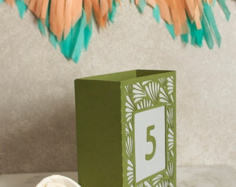 NEW Fern Wedding Table Number Luminary, Art Deco Table Numbers, Table Markers, Luminaries, Paper Luminaries / Laser Cut Table Numbers