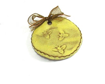 Ceramic Spoon Rest / Tea Bag Holder - Busy Honey Bees (OOAK Ceramic Coffee Spoon Rest, Tea Bag Rest Gift Set, Comes With Sample Teas)
