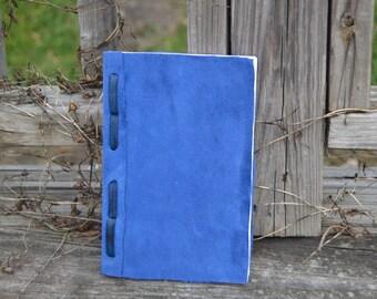 Hand bound blue leather journal