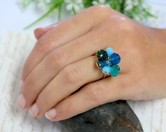 Gift For Women, Turquoise Statement Ring, Turquoise Silver Ring, Silver Cluster Ring, Turquoise Cluster Ring, Birthstone Turquoise Jewelry