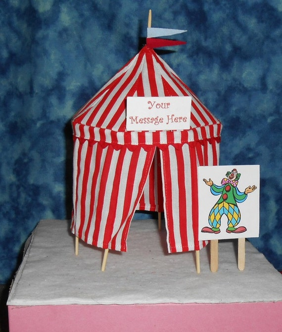 Handmade Fabric circus tent cake topper or table decoration in red and white stripes as shown in the photo. Approx 5 3/4  across ... & Circus Birthday Party Cake Decorations | Birthday Wikii