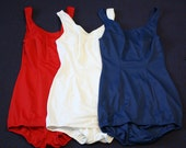 Do not purchase. For Aimee Vintage 1950s 1960s Womens Bathing Suits Set of 3 Red White and Blue by Dolfin Size 36 Modern Small Medium