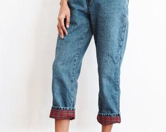 Vintage Red Flannel Lined Denim Size 28 x 27