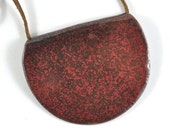 Bib Necklace Ceramic Pendant Handmade Jewellery Brown Red Speckled on Leather Thong in Handmade Jewellery Bag Made in Australia