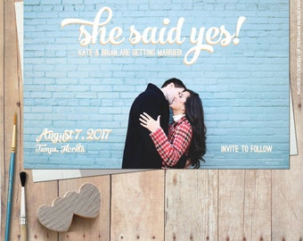 Custom photo save the date cards, save the date magnet, digital file, modern save the date card, printable save the date - She Said Yes