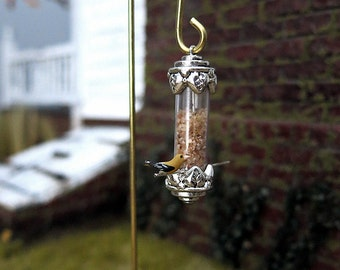 Silver birdfeeder - dollhouse miniature