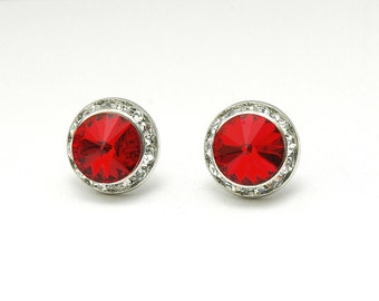 Red Stud Earrings, Red Swarovskci Crystal Earrings, Rhinestone Earrings, Silver Small Earrings, Red Crystal Earrigs