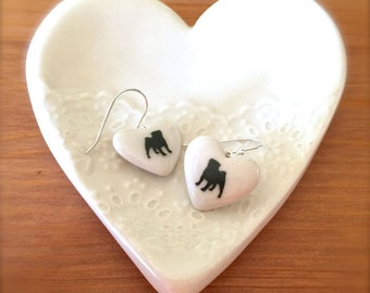 Pug Earrings, Heart with Pug Sterling Silver Earrings, Gift for Dog Lover, Porcelain Jewelry, Gift for her