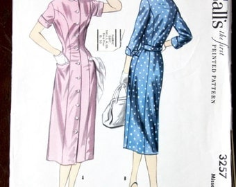 Vintage 1955 McCall's Printed Pattern 3257 Button-Down Dress 30 Bust
