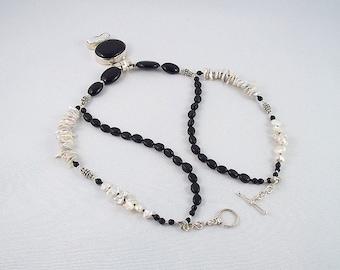 Black Onyx/White Baroque Pearl 2-Strand Silver Necklace