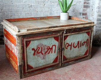 Reclaimed Vintage Juice Vendor's Box Coffee Table Large Side Table Food Cart Rajasthan India Industrial Advertising Sign Metal Wood Table