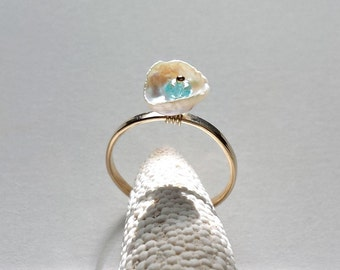 White Pearl Ring, Keshi Pearl, Adjustable Ring, Pearl Gemstone Ring, Apatite, Wire Wrapped Ring:  Ready to Ship