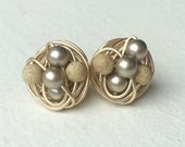 Gold filled wire- Platinum on Gold Mix it up Series Gold Studs - Platinum Swarovski Glass Pearl stud earrings with Gold Stardust Beads