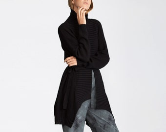Buy 1 get 1 sale Black cardigan, black sweater, Winter open sweater, Oversize Sweater, knit Coat, women's maxi sweater,Cardigan, chunky knit