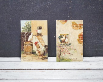 Easter Wishes Postcards with Roosters