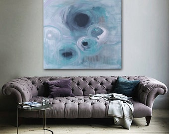 "Large 36"" x 36"" Original Abstract Painting - Contemporary Wall Art Decor - blue - circles- turquoise - drips drippy"