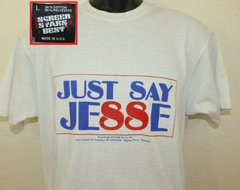 Just Say Jesse Jackson for President vintage t-shirt short L 80s 1988