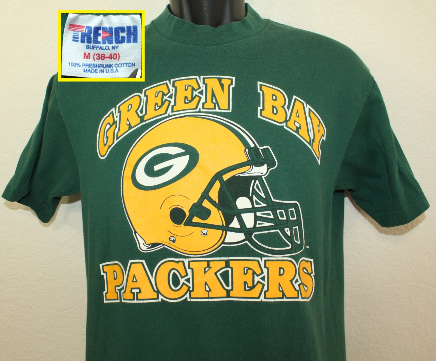 Green Bay Packers Vintage T Shirt S M Green 90s Trench Nfl
