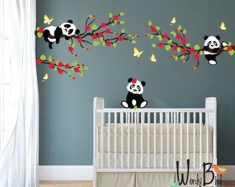 Panda Wall Decals, Tree wall decals with Cherry Blossom Branches and Butterflies, reusable kids wall decals, nursery decals