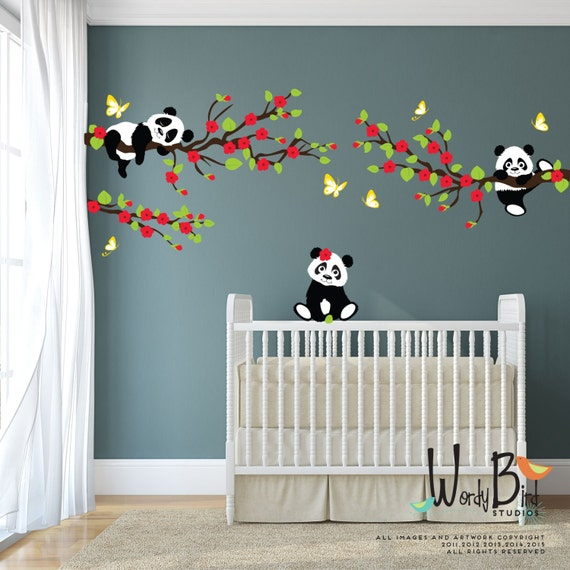 panda wall decals tree wall decals with cherry blossom pandas eating bamboo wall sticker by wallstickerstudio com au