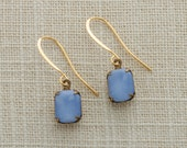 Blue & Gold Earrings French Hook | Soft Periwinkle Blue Cabochon Stones Dangle Wedding Earrings Bridesmaid Handcrafted by Ritzy Rose 10mm