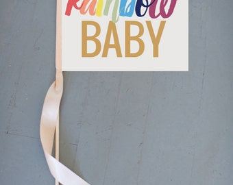 Rainbow Baby Banner | Pregnancy Annoucement Sign {Post Miscarriage} | Flag Infertility There's Always A Rainbow After Storm 1219 SRB