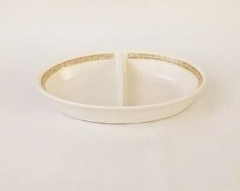 Franciscan Earthenware Hacienda Gold Pattern Oval-Shaped Divided Serving Dish