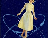 "Medium Giclee Print from my Original Collage ""Orbit"" - Sci Fi, Retro, Pop, Surreal, Outer Space, Orbit, Stars, 1950s, Vintage, astronomy"