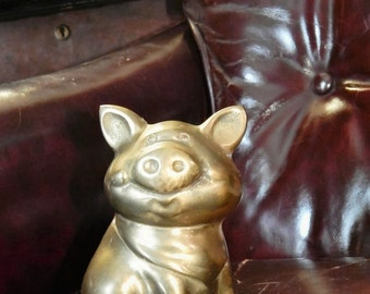 Perfect Vintage BRASS~PIGGY BANK~Bookend~Shelve Decor~Sweet Vintage Smiling Pig~Bandana Solid Brass Farm Collectible