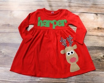 Christmas Dress, Toddler Girl Christmas Dress, Reindeer Dress, Christmas Outfit