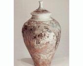Raku Jar, Woodland Urn,Handmade, Large,white,copper flashing,turquoise,,Home Decor, nonperishable storage