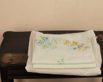 Vintage Full Sheet Set ReMix Laura Ashley Fitted Sheet Micro Blue White Tulip Print & Two Pillowcase MidCentury Tan Turquoise Rose Floral