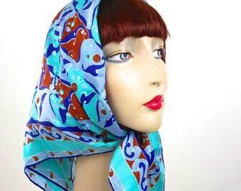 Vintage 70s Mod Scarf Ladies Silky Aqua Blue Red Head Neck Square Scarf
